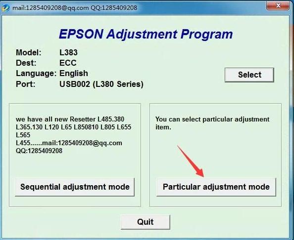 爱普生L485/L385/L383/L380清零软件