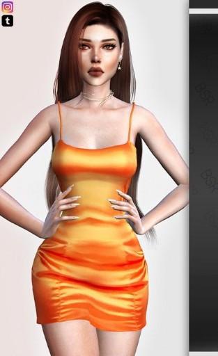 模拟人生4吊带橙色礼服MOD